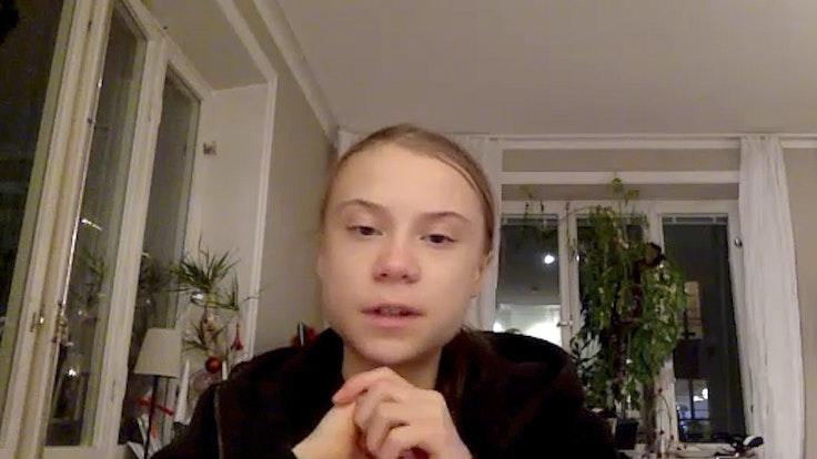 Greta Thunberg, schwedische Klimaaktivistin, spricht während eines Videointerviews mit der Deutschen Presse-Agentur dpa in die Kamera.