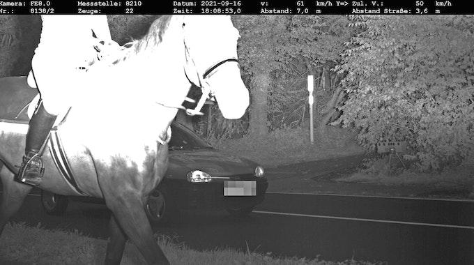 Die Kreispolizeibehörde Mettmann knipste dieses kuriose Blitzerfoto mit Pferd und Reiterin am Donnerstag, 16. September, in Ratingen.