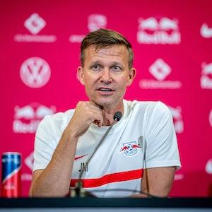 RB Leipzig-Coach Jesse Marsch bei der Pressekonferenz.