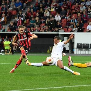 Treffsicher: Florian Wirtz in der Europa League zum 2:1 gegen Ferencvaros Budapest.