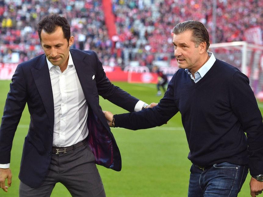 Hasan Salihamidzic und Michael Zorc beim Duell zwischen dem FC Bayern München und Borussia Dortmund im April 2019.