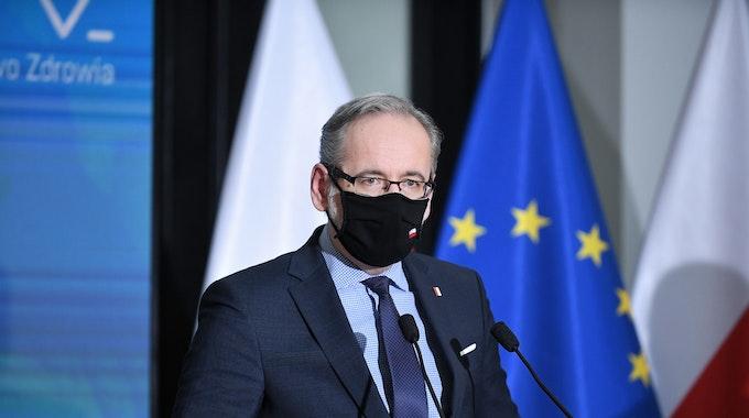Adam Niedzielski, Gesundheitsminister von Polen, nimmt im Januar 2021 an einer Pressekonferenz in der Landeshauptstadt teil.