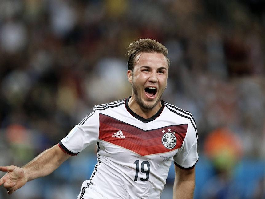 Mario Götze jubelt nach seinem Tor im WM-Finale 2014.