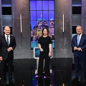 Olaf Scholz, Annalena Baerbock und Armin Laschet (v.l.) im dritten TV-Triell am Sonntag (19. September).