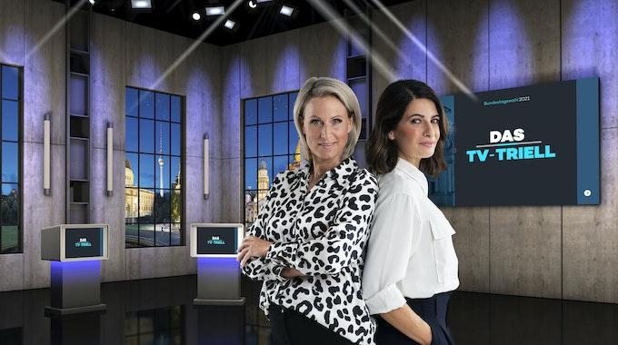 Das dritte und letzte TV-Triell wurde für die ProSieben-Gruppe von Linda Zervakis (r.) und Claudia von Brauchitsch moderiert. Letztere geriet in die Kritik, weil sie zuvor auch beim Parteisender CDU.tv arbeitete.