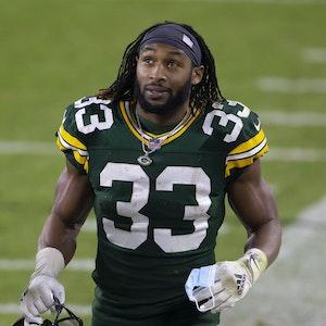 Aaron Jones von den Green Bay Packers während des Spiels gegen die Carolina Panthers.