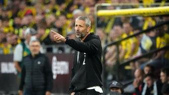 Marco Rose, Ex-Trainer von Borussia Mönchengladbach, hier am 19. September 2021, zeigt seinem Team Borussia Dortmund mit ausgestrecktem Arm etwas an.
