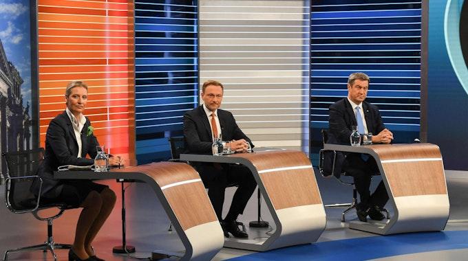 Alice Weidel, Christian Lindner und Markus Söder in der ARD-Schlussrunde am Donnerstag (23. September).