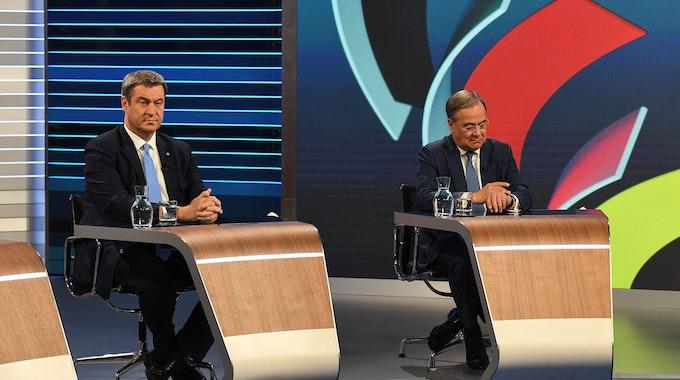Markus Söder neben Armin Laschet in der Wahl 2021 Schlussrunde in ARD/ZDF.