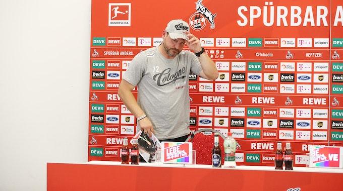 Steffen Baumgart kommt zu einer Pressekonferenz des 1. FC Köln am Geißbockheim.