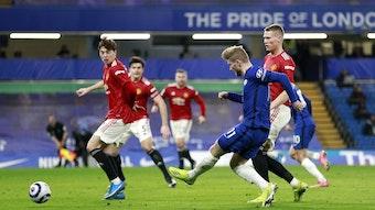 Timo Werner (2.v.r.) im Spiel gegen seinen Traumverein Manchester United.