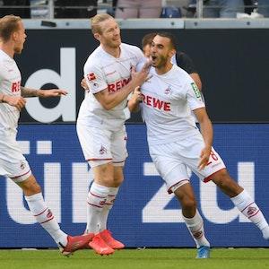 Ellyes Skhiri bejubelt sein Tor gegen Eintracht Frankfurt.