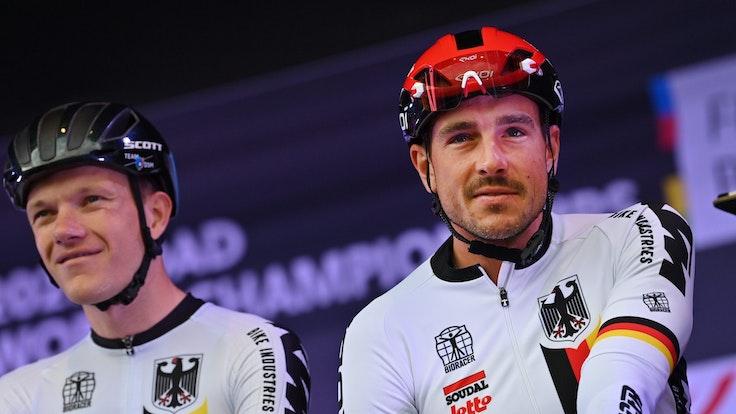 John Degenkolb (r) aus Deutschland bei der Rad-WM.