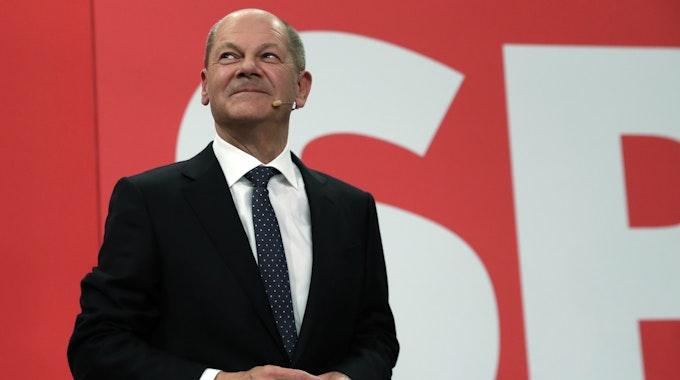 Olaf Scholz am 26. September nach der Wahlparty in Berlin.