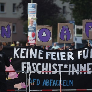 Proteste gegen die AfD am 26. September 2021 im Rahmen der Bundestagswahl in Berlin.