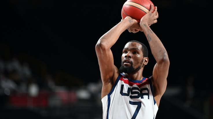 Kevin Durant aus den USA beim Olympia-Finale in Aktion.