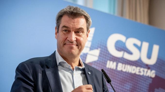 Markus Soeder, CSU-Vorsitzender und Ministerpräsident von Bayern, spricht nach der Sitzung der CSU Landesgruppe im neugewählten Bundestag.