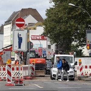 Eine Baustelle auf der Vogelsanger Straße in Köln-Ehrenfeld.