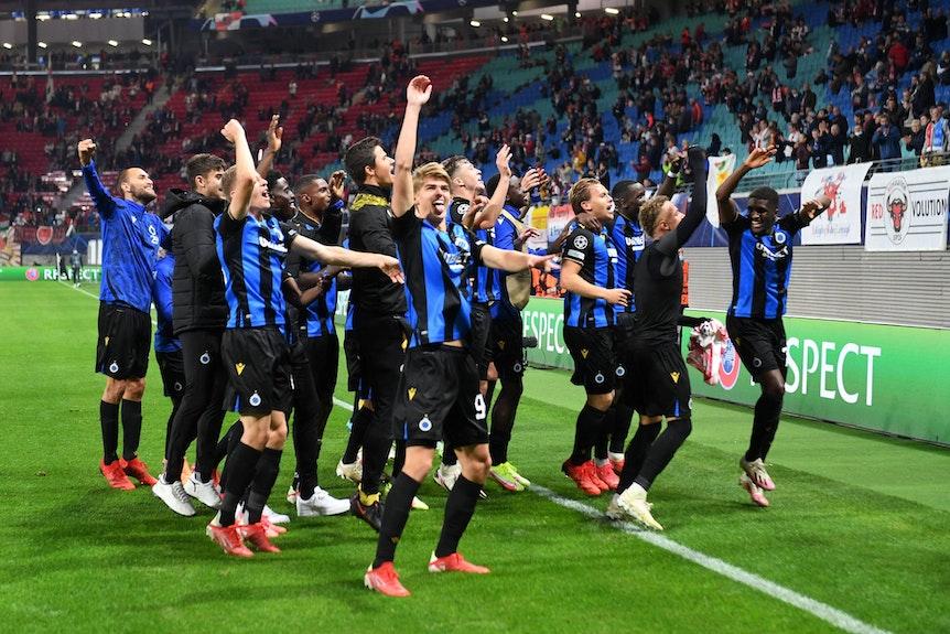 Hatten Spaß in Leipzigs: Die Spieler des FC Brügge nach dem 2:1