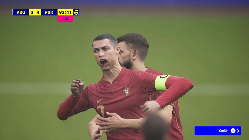 Sekwencja z eFootball, następcy gry wideo Pro Evolution Soccer, pokazuje niedbale animowanego Cristiano Ronaldo świętującego bramkę.