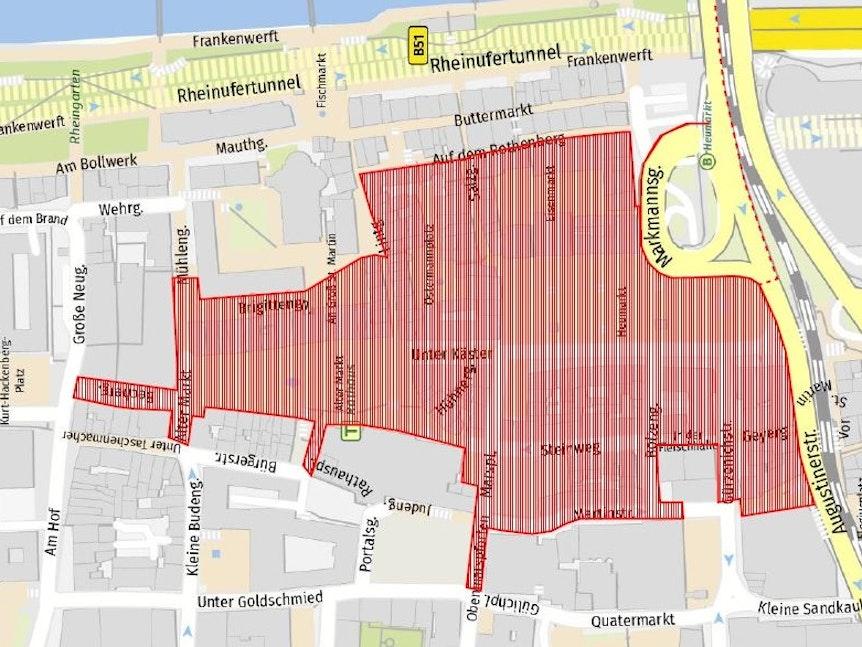 Auf einer Karte ist die Kölner Altstadt markiert.