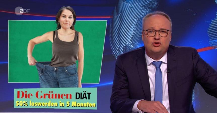 """Annalena Baebock wird mit viel zu großer Hose dargestellt. Darunter steht: """"Die Grünen Diät 50 Prozent loswerden in fünf Monaten."""""""