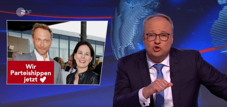 """Ein Foto von Lindner (l.) und Baebock (r.) mit der Bildunterschrift """"Wir Parteishippen jetzt""""."""