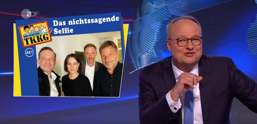 Das Selfie von Wissing, Baerbock, Lindner und Habeck, eingebunden in das TKKG-Logo.