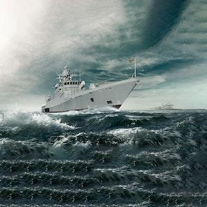 Das Kriegsschiff Köln auf dem Wasser