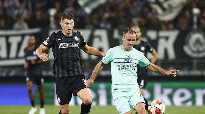 Mario Götze von der PSV Eindhoven im Spiel gegen Sturm Graz.