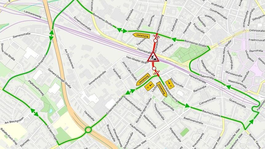 Die Karte zeigt, wie der Verkehr umgeleitet wird.