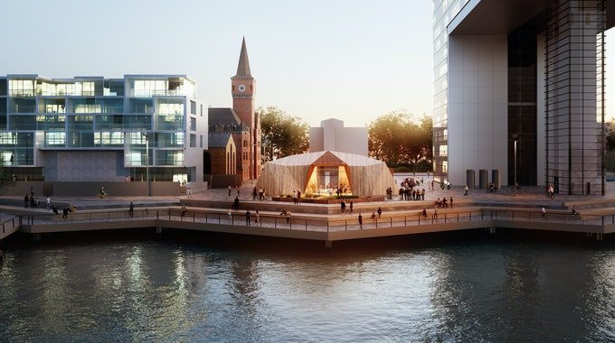Köln: Im Rheinauhafen steht eine Wasserturbine, die Strom für E-Mobilität gewinnen soll.