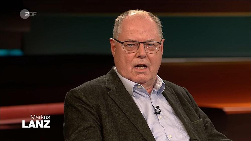 """Der frühere SPD-Kanzlerkandidat Peer Steinbrück erklärte am Dienstagabend (5. Oktober) bei """"Markus Lanz"""", weshalb Armin Laschet sich nun zurückziehen müsse."""
