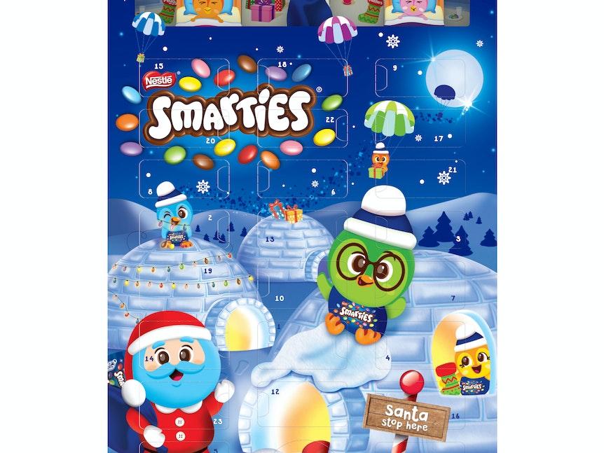 Produktbild des Smarties Adventskalenders. Bei Gluten-Unverträglichkeit: Nestlé warnt vor dem Verzehr des Smarties Adventskalenders.
