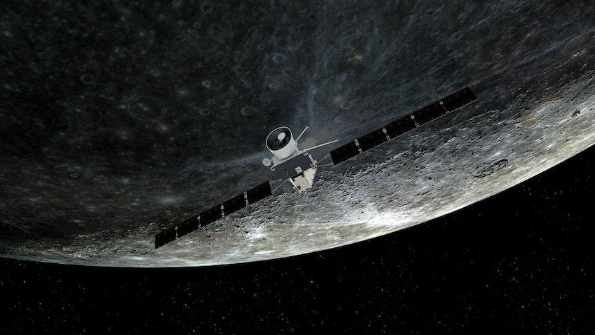 Künstlerische Darstellung des Vorbeiflugs von «BepiColombo» am Merkur am 1. Oktober 2021.