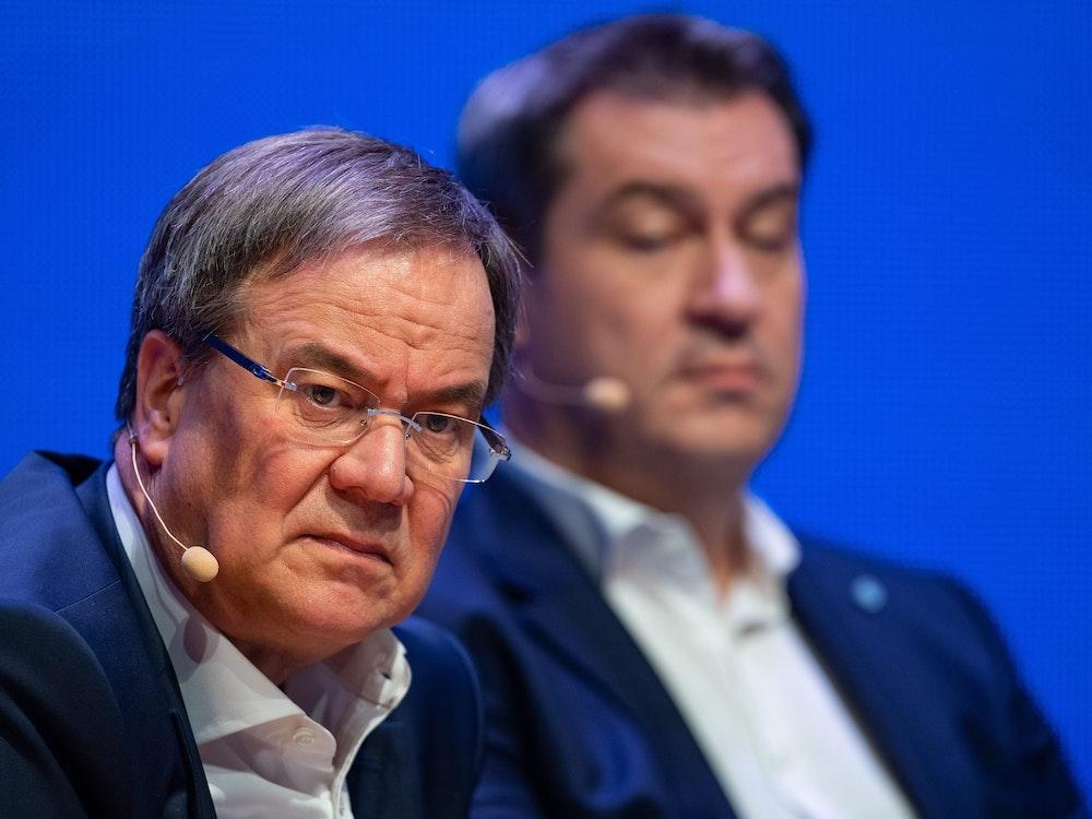 Markus Söder schoss in seiner Rede immer wieder gegen Armin Laschet (hier ein Fotos vom April 2019).