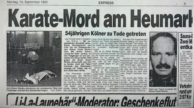 Ein Zeitungsausschnitt des Kölner EXPRESS vom 14. September 1992 über den getöteten Horst Strohe.