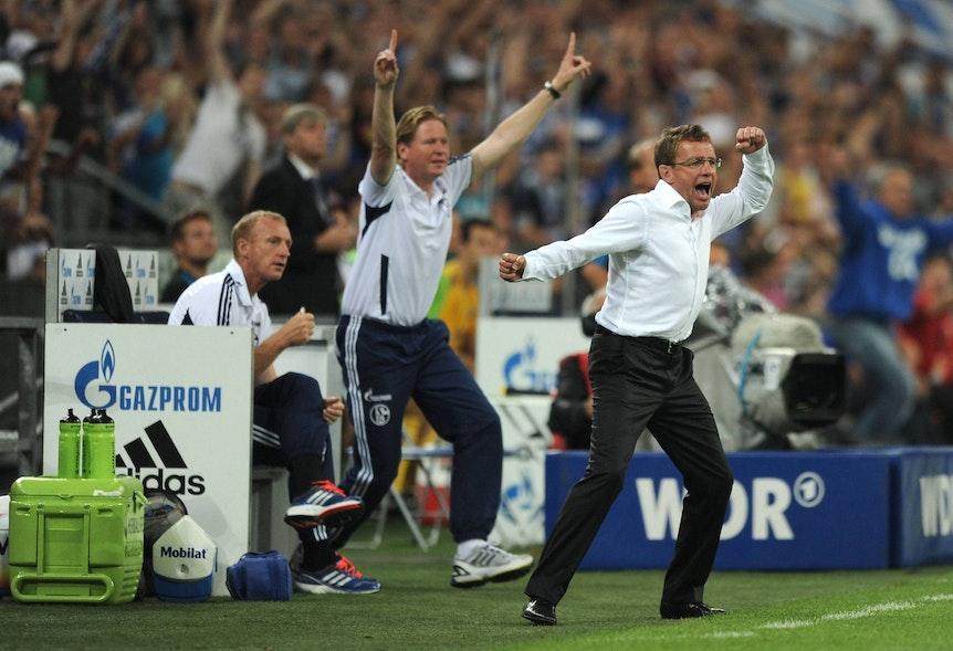 Waren gemeinsam beim FC Schalke 04: Ralf Rangnick (r.) und Markus Gisdol