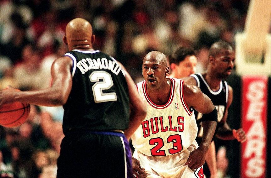 Michael Jordan im Duell mit Mitch Richmond