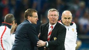 Hat ein Faible für den englischen Fußball: Ralf Rangnick, hier mit Sir Alex (Ferguson)