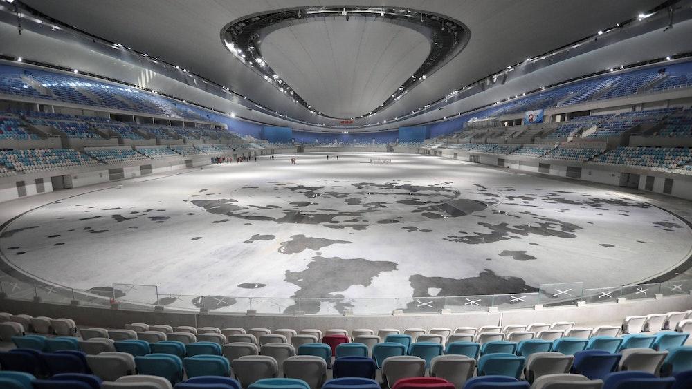 Einblick in die neugebaute Eisschnelllauf-Arena Ice Ribbon in Peking