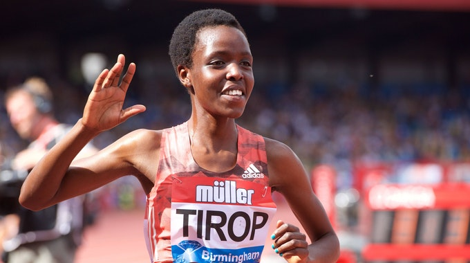 Agnes Jebet Tirop beim 3000-Meter-Lauf des Müller Grand Prix IAAF Diamond League in Birmingham