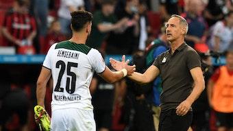 Gladbach-Trainer Adi Hütter (r.) klatscht Borussia-Verteidiger Ramy Bensebaini (l.) ab. Das Foto zeigt die beiden am 20. August 2021 in Leverkusen. Hütter und Bensebaini schauen sich an der Seitenlinie an.