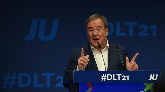 Armin Laschet sprach am 16. Oktober 2021 in Münster beim Deutschlandtag der Jungen Union.
