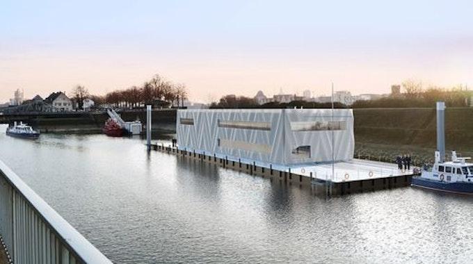 Entwurf der schwimmenden Polizeiwache im Köln-Deutzer Hafen.
