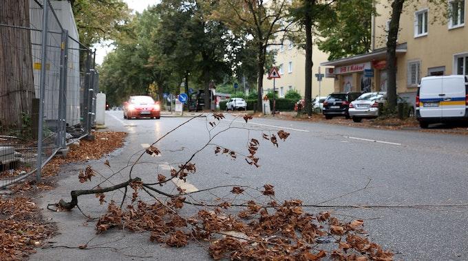 Köln: Herftiger Sturm fegt über Köln Ein Ast liegt auf der Widdersdorfer Str. in Ehrenfeld Foto: Martina Goyert