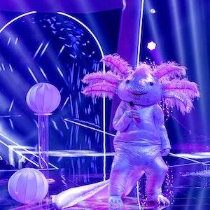 """Das Axolotl performt am Samstag (16. Oktober 2021) auf der """"The Masked Singer""""-Bühne."""