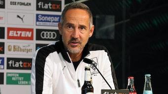 Adi Hütter, Trainer von Borussia Mönchengladbach, am Donnerstag (21. Oktober 2021) bei der Pressekonferenz vor dem Bundesliga-Spiel bei Hertha BSC.