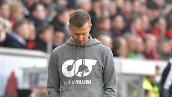 RB Leipzigs Coach Jesse Marsch enttäuscht.
