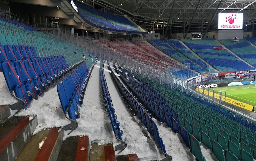 Die leere Red-Bull-Arena von RB Leipzig.